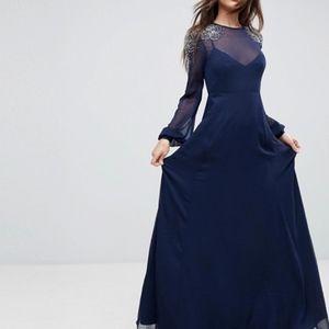ASOS Sheer Sleeve Maxi Dress Embellished Shoulder